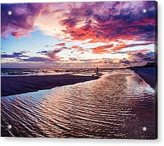 Beach Sunset Ripple Time Acrylic Print