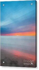 Beach Sunset Seven Acrylic Print by Edward Fielding