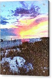 Beach Sunset Acrylic Print by Susan Leggett