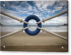 Beach Through Lifeguard Tied With Ropes Acrylic Print