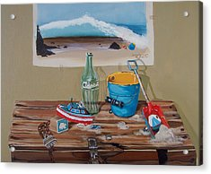 Acrylic Print featuring the painting Beach Toys by Susan Roberts