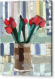 Beach Tulips Acrylic Print by Carrie Joy Byrnes