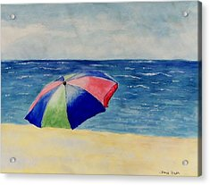Acrylic Print featuring the painting Beach Umbrella by Jamie Frier