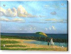Beach Umbrella Acrylic Print by Jane  Simonson