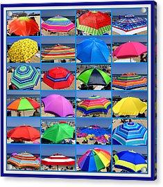 Beach Umbrella Medley Acrylic Print by Mitchell R Grosky