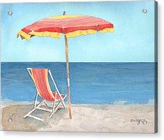 Beach Umbrella Of Stripes Acrylic Print by Arline Wagner