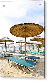 Beach Umbrellas And Chairs On Sandy Seashore Acrylic Print by Elena Elisseeva