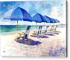 Beach Umbrellas Acrylic Print by Andrew King