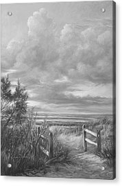 Beach Walk - Black And White Acrylic Print by Lucie Bilodeau