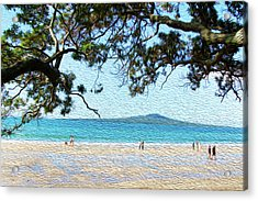 Beach Walkers Acrylic Print by Les Cunliffe
