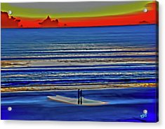 Beach Walking At Sunrise Acrylic Print