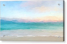 Beach Watercolor Sunrise Acrylic Print