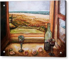 Acrylic Print featuring the painting Beach Window by Winsome Gunning