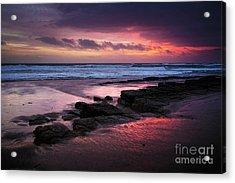 Beach Winter Sunset 1 Acrylic Print by Carlos Caetano