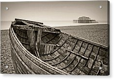 Beached At Brighton In Sepia Acrylic Print by Tony Grider
