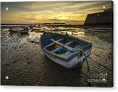 Beached Boat On La Caleta Cadiz Spain Acrylic Print