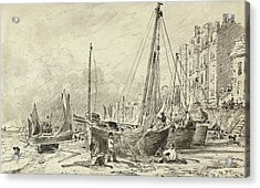 Beached Fishing Boats With Fishermen Mending Nets On The Beach At Brighton, Looking West Acrylic Print