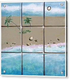 Acrylic Print featuring the mixed media Beaches Cubed by Mary Ann  Leitch