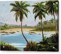 Beachfont Palms Acrylic Print by Beth Maddox