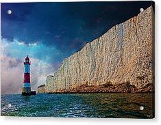 Beachy Head Lighthouse And Cliffs Acrylic Print by Chris Lord
