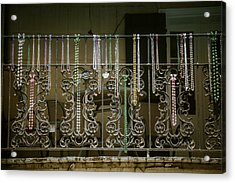 Beads On Wrought Iron Rail Acrylic Print by Garry Gay