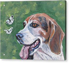 Acrylic Print featuring the painting Beagle And Butterflies by Lee Ann Shepard