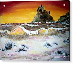 Acrylic Print featuring the painting Beaitiful Breakers by Carol Grimes