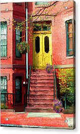 Beantown Brownstone With Yellow Doors Acrylic Print