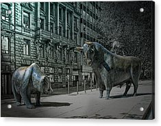 bear and bull Frankfurt Acrylic Print by Joachim G Pinkawa