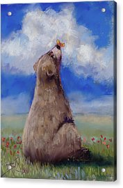 Acrylic Print featuring the pastel Bear And Butterfly by Billie Colson