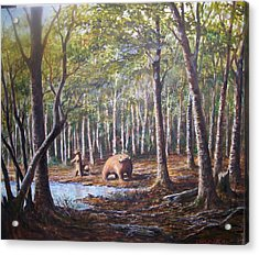 Bear And Her Cubs Acrylic Print