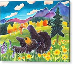 Bear And The Butterfly Acrylic Print by Harriet Peck Taylor