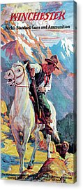 Acrylic Print featuring the painting Bear Confronting Cowboy by Frank Stick