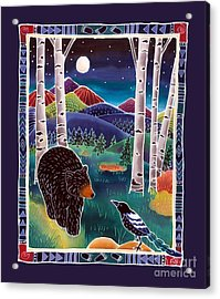 Bear Greets Magpie Acrylic Print by Harriet Peck Taylor