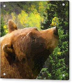 Acrylic Print featuring the painting Bear - N - Butterfly Effect by Doug Kreuger
