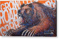 Bear On Orange Acrylic Print by Michael Glass