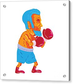 Bearded Boxer Boxing Cartoon Wpa Acrylic Print by Aloysius Patrimonio