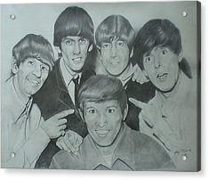 Beatles With A New Friend Acrylic Print by Randy McFall