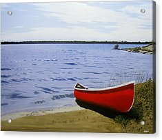 Beaultiful Red Canoe Acrylic Print