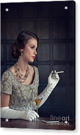Beautiful 1930s Woman With Cocktail And Cigarette Acrylic Print