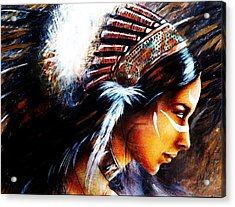 Beautiful Airbrush Painting Of A Young Indian Woman Wearing  Acrylic Print