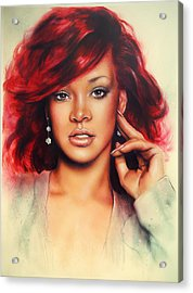 beautiful airbrush portrait of Rihanna with red hair and a face close up Acrylic Print by Jozef Klopacka