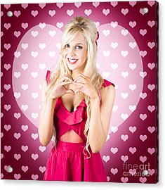 Beautiful Blonde Woman Gesturing Heart Shape Acrylic Print by Jorgo Photography - Wall Art Gallery