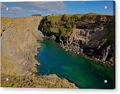 Beautiful Coastal Inlet Turquoise Blue Sea Pepper Cove Between Treyarnon And Porthcothan From Path Acrylic Print by Michael Charles