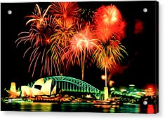 Beautiful Colorful Holiday Fireworks 2 Acrylic Print by Lanjee Chee