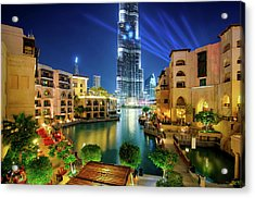 Beautiful Downtown Area In Dubai At Night, Dubai, United Arab Emirates Acrylic Print