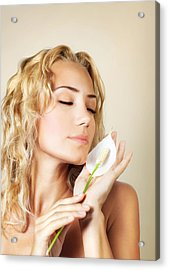 Beautiful Female Holding Calla Flower  Acrylic Print
