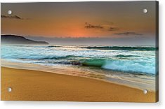 Beautiful Hazy Sunrise Seascape  Acrylic Print