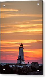 Beautiful Ludington Lighthouse Sunset Acrylic Print