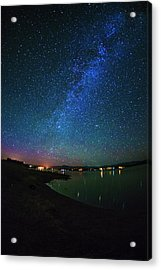 Beautiful Milkyway Over Lake Cascade In Idaho Usa Acrylic Print